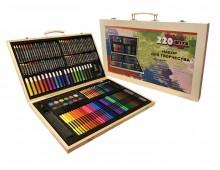 Набор художника, 220 предметов в деревянном чемоданчике