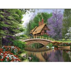 Алмазн. живопись 30*24 ПОЛНОЕ Домик у реки L643