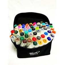 Маркеры для скетчинга, набор 60 цветов белые в сумке