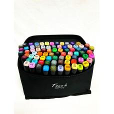 Маркеры для скетчинга, набор 80 цветов черные в сумке