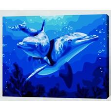 Рисование по номерам 30*40 в раме Два дельфина Е349 (15 цветов, 4 звезды)