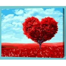Рисование по номерам 30*40 в раме Дерево-сердце Е419  (22 цветов, 4 звезды)