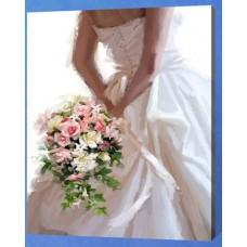 Рисование по номерам 30*40 в раме Букет невесты Е792 (24 цветов, 4 звезды)