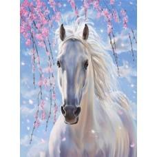 Рисование по номерам 30*40 в раме Белый конь Е1014 (20 цветов, 4 звезды)